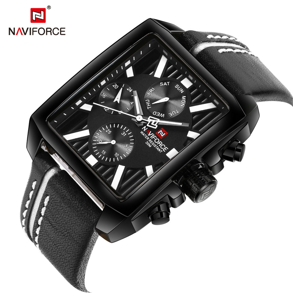 NAVIFORCE 2019 Creatived Casual Watch Men Tonneau Quartz Watches Top Brand Luxury Leather Strap Wristwatches relogio masculino