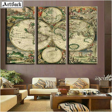 Full square diy 5d diamond painting world map mosaic landscape art 3d wall sticker decoration