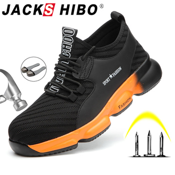 JACKSHIBO Breathable Work Safety Shoes For Men Working Boots Steel Toe Cap Anti-Smashing Construction Safety Work Sneakers Shoes steel toe boots breathable safety shoes men s lightweight summer anti smashing piercing work fashion shoes 2018 men
