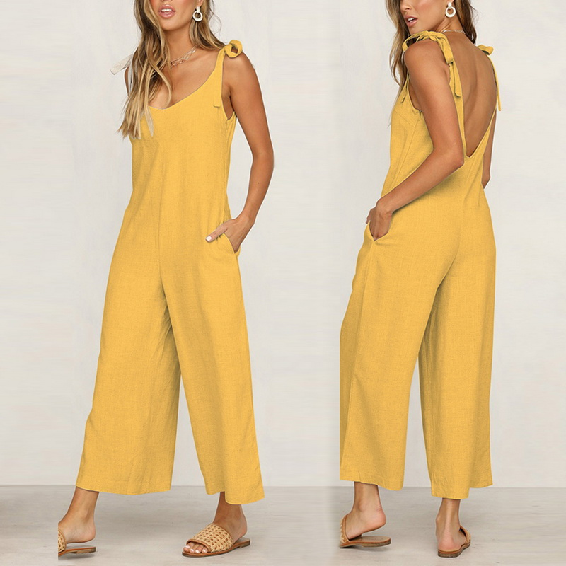 Elegant Jumpsuit Women Casual Loose Fashion Long Solid Strap Wide Leg Jumpsuits Womens Tie Up Sexy Backless Vacation New