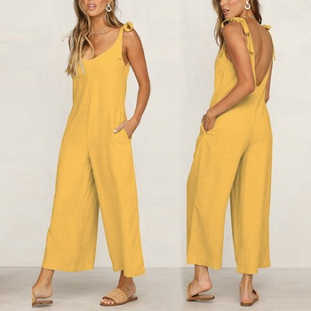 цена на Elegant Jumpsuit Women Casual Loose Fashion Long Solid Strap Wide Leg Jumpsuits Womens Tie Up Sexy Backless Vacation New