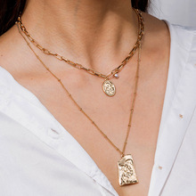 New Accessories Multilayer Gold Chain Pendant Charm Necklace For Women Personality Wild Tag Necklace Gift FFashion Jewelry New 2019 statement multilayer letter pendant necklace charm gold necklace bread beads chain necklace jewelry for women