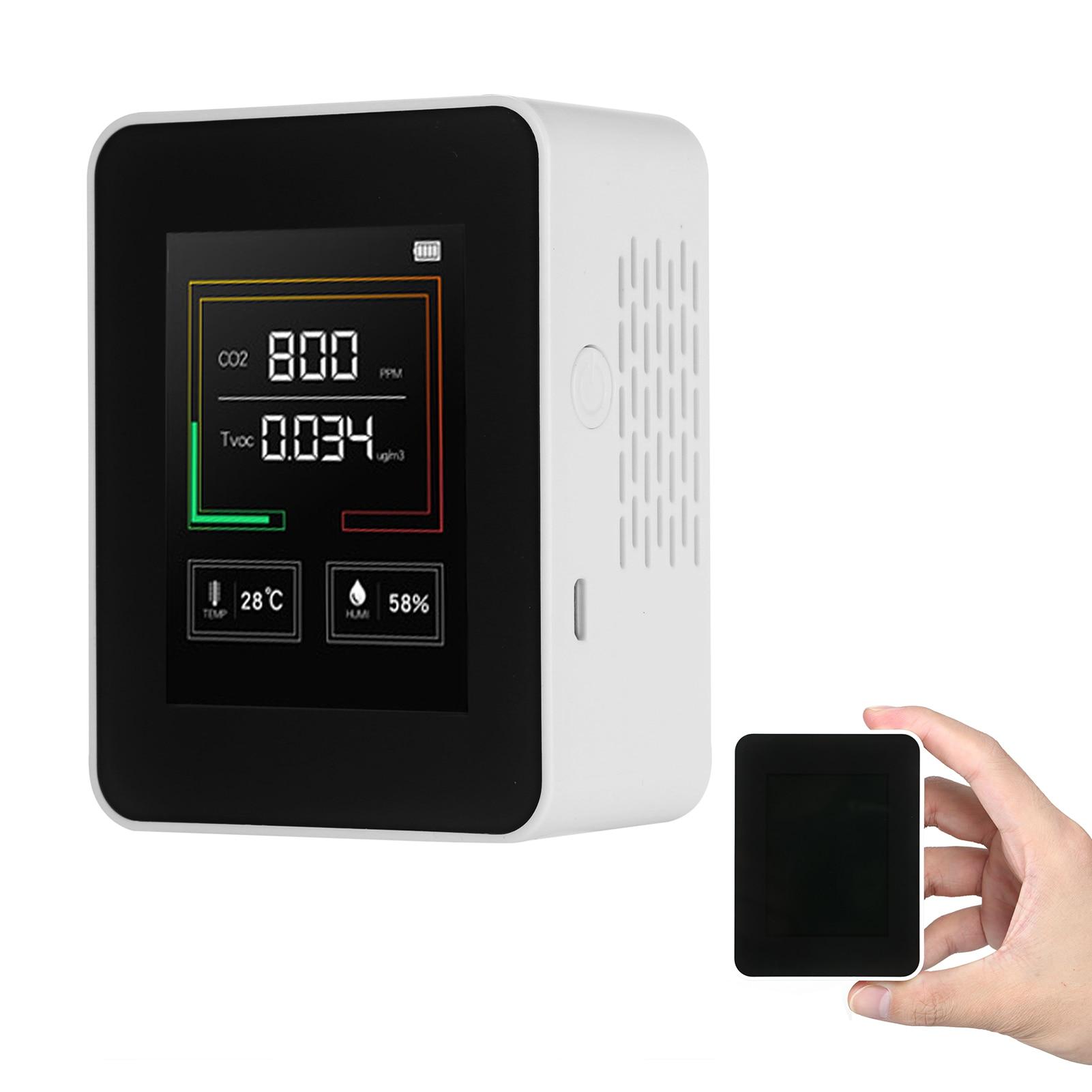 Gas Detector Co2 Meter With Alarm Tvoc Sensor Air Quality Monitor Temperature Humidity Tester Lcd Display Co2 Sensor Meter