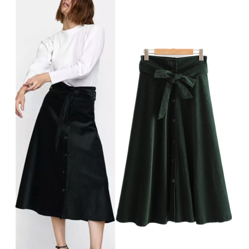 Autumn New Style Europe And America WOMEN'S Dress-Style Solid Color With Belt Corduroy A- Line Skirt S5484