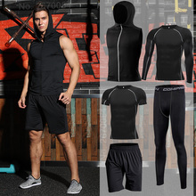 Men's Running Sets Fitness Sportswear Compression Tracksuits Jogging Sport Suits Training Sports Clothes Tights Sports Clothing sport suit women fitness clothing running sets polyester breathable ladys sportswear zip pocket training jogging sportsuit