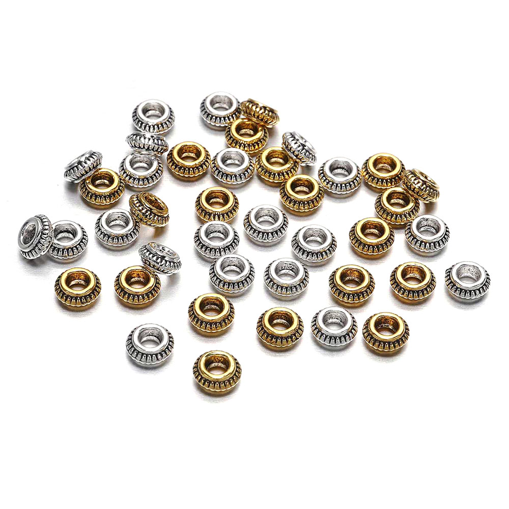 50pcs/lot 7mm Antique Gold Silver Charm Bracelet Beads Findings Loose Spacer For Jewelry Making Supplies DIY Accessories
