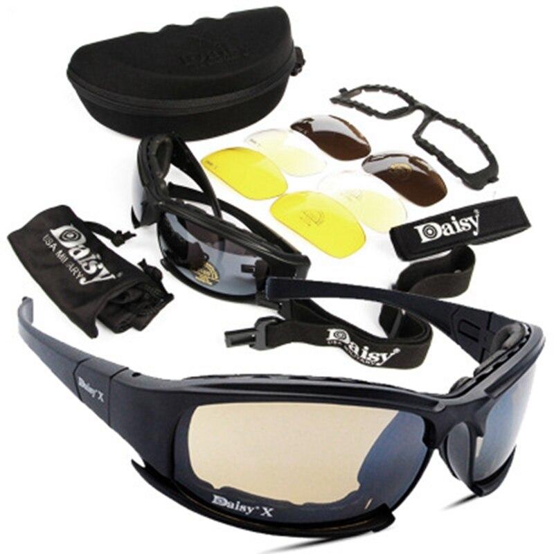 Margarida tático Óculos Óculos de Proteção Óculos De Sol Com Lente 4 Caixa Original Dos Homens Do Exército Militar Tiro Eyewear Gafas