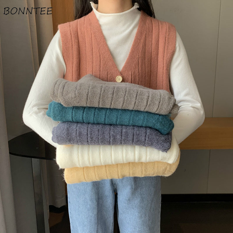 Vest Women Solid Simple Basic Sleeveless Knitted Vests Preppy Harajuku Student Loose Jumper Top Fashionable Daily Womens Fit New