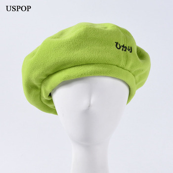 USPOP  New berets women Japanese letter polar fleece  berets female thick warm winter hat solid color painter hat european and american autumn and winter new letter embroidery wool beret hat painter hat lady fashion warm berets women