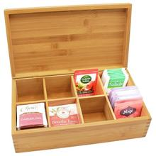 New Wooden Tea Box Coffee Candy Organizer Engraved Storage Holder For Home Decoration Multi-grid
