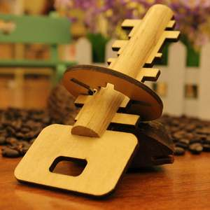 Toy Lock-Toys Wooden Jigsaw Key Puzzle Kong Release Intellectual Educational-Stress Ming