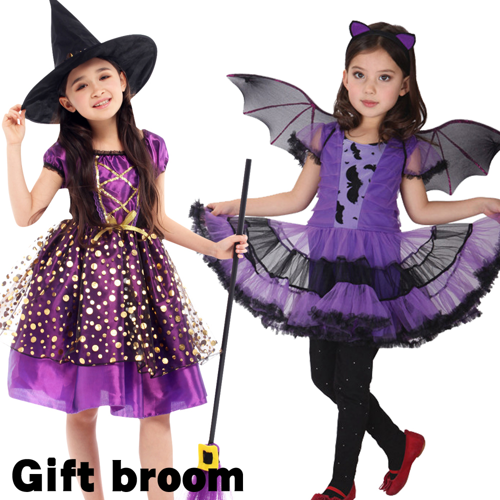 Halloween Fancy Fantasia Infant Witch Cosplay Costumes For Children Kids Witch Costume For Girls Witch Bat Clothes