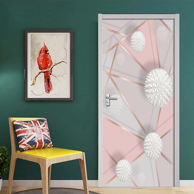 Фото съемные дверные наклейки 3d геометрические мраморные строчки