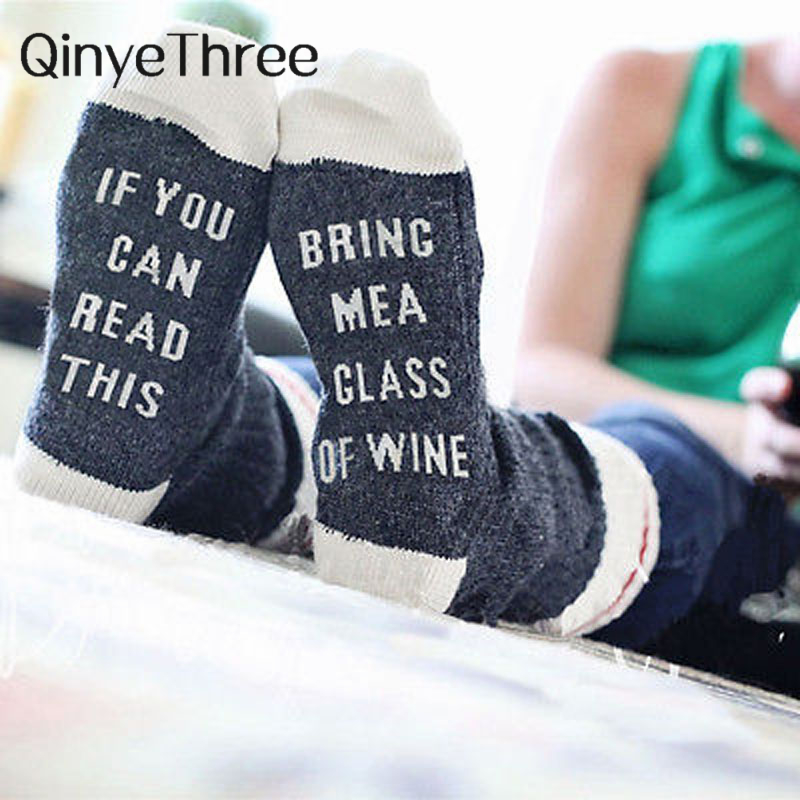 Custom wine socks If You Can Read This Bring Me a Glass of Wine autumn spring winter 2019 Halloween Christmas gift Sock Dropship