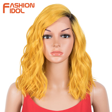 FASHION IDOL-Peluca de Bob corto ondulado suelto para mujer, pelo sintético rizado de 14 pulgadas, Rubio degradado, ondas al agua, Cosplay