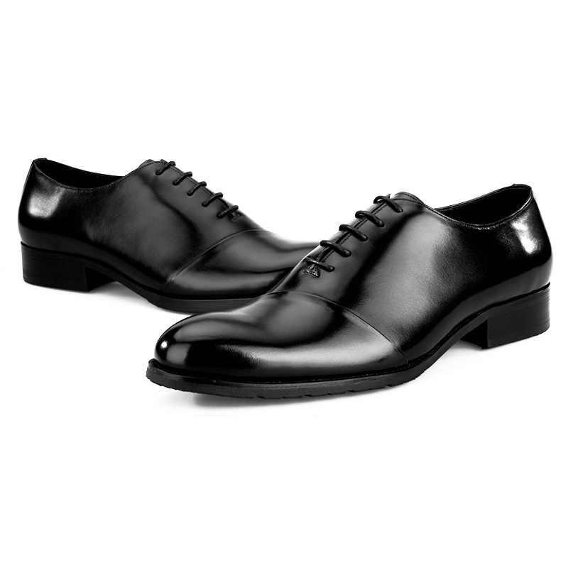 اليدوية رجالي مكتب العمل الرسمي فستان أحذية البقر الجلد الحقيقي إيطاليا الأعمال حزب أشار تو كتلة الكعوب الدانتيل يصل أكسفورد أحذية