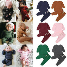 New Fashion Infant Baby Boy Girl Pajamas Pjs Set Sleepwear Nightwear Long Sleeve Clothes Outfit