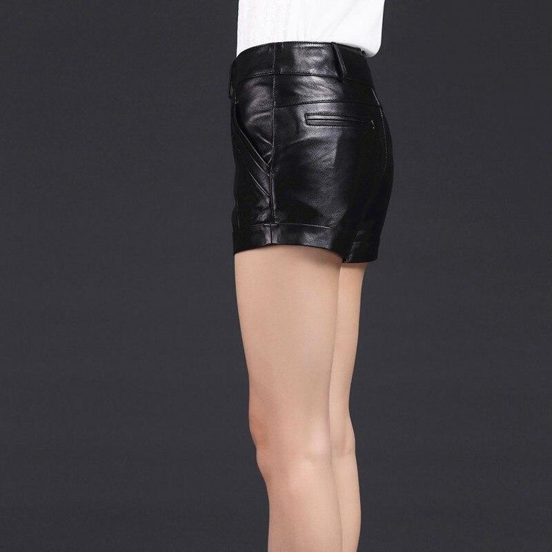 Korean Women Slim Fit Sexy Mini Short Luxury Genuine Leather OL Casual Shorts Black Trousers Female Size M-3XL Hot Pantaloncini