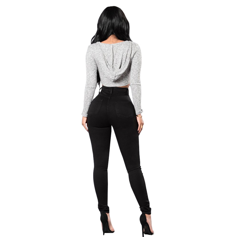 Pencil Jeans Stretch Black White High-Waist Fashion Women's Woman New And Casual Autumn