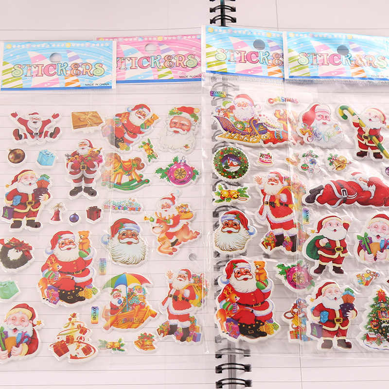 4 Stuks Christmas Gift Vrolijk 3D Bubble Sticker Cartoon Kerstman Bell Puffy Stickers Nieuwe Jaar Sticky Decor Voor kid