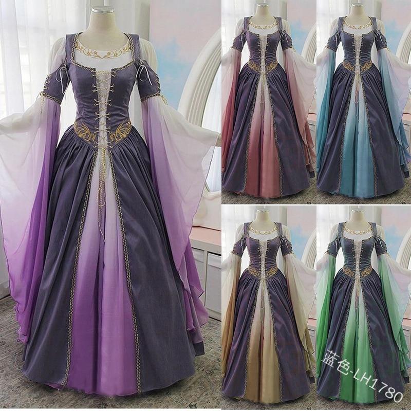 Женское платье в викторианском стиле, элегантные платья для женщин, большие размеры, винтажное готическое средневековое платье, готическое