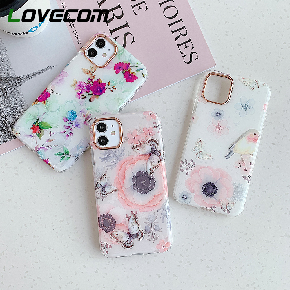 LOVECOM Beautiful Flower Butterfly Phone <font><b>Case</b></font> For <font><b>iPhone</b></font> 11 Pro Max XR XS Max 7 8 Plus <font><b>X</b></font> Soft IMD Camera Protection Back Cover image
