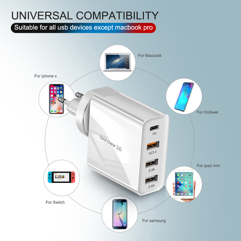 Image 5 - 48W Multi Quick Charger PD Type C USB Charger for Samsung iPhone Huawei Tablet QC 3.0 Fast Wall Charger US EU UK Plug Adapter-in Mobile Phone Chargers from Cellphones & Telecommunications