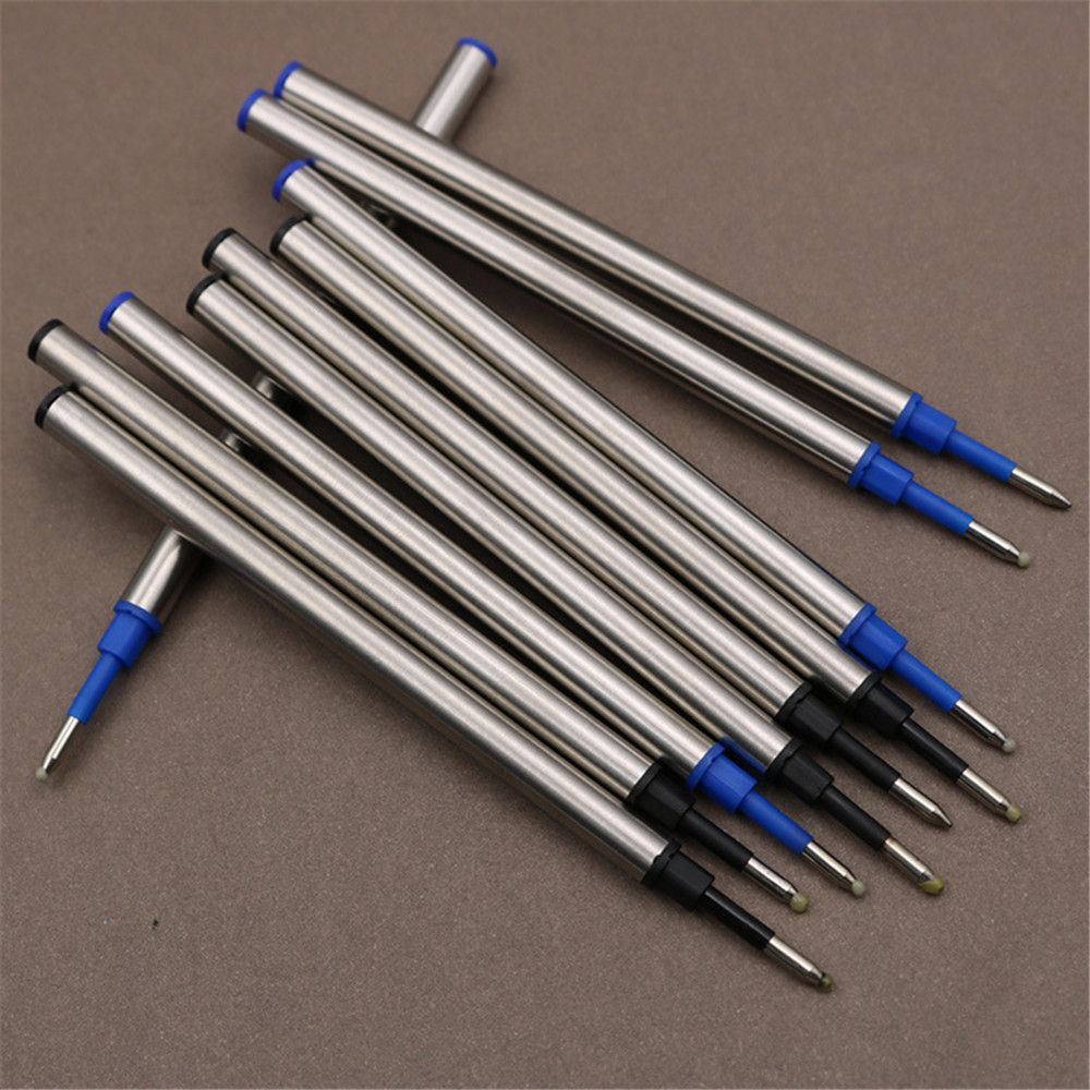 5pcs Metal Refills Blue Black Ink for Roller Ballpoint Pens Gel Pen Replacement Signature Rods Business School Office Stationery