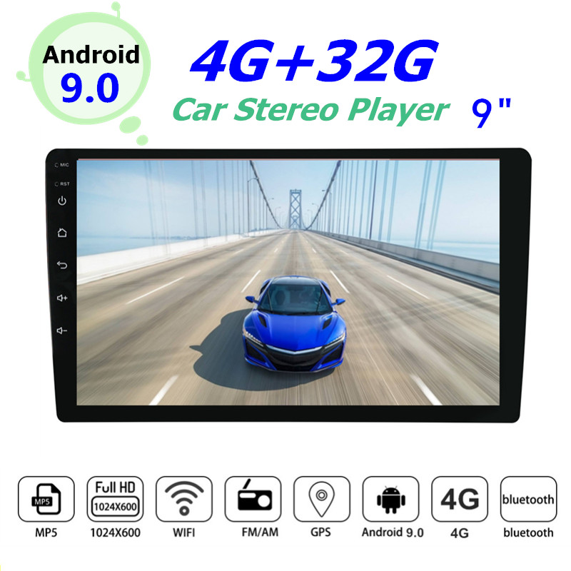 YUEHOO 9 inch Android 9.0 2 DIN Car Radio GPS Navigation Car Stereo Radio Multimedia Player 4+32G Touch Screen 4G FM AM RDS image