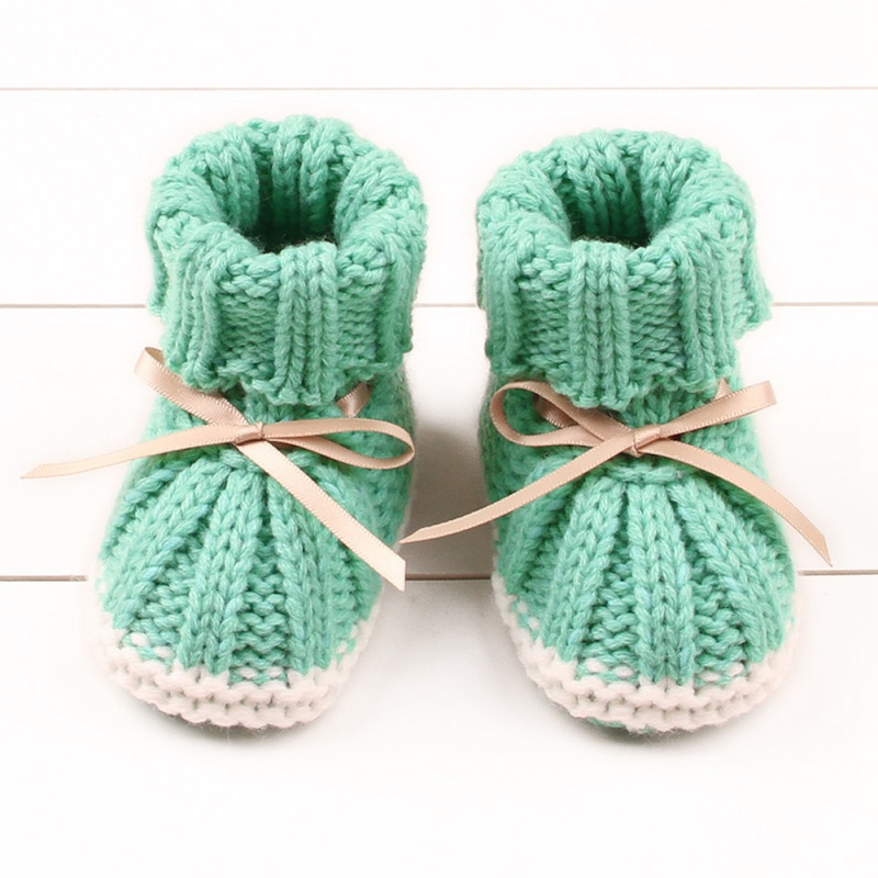 0-24M Infant Baby Crochet Knit Fleece Boots Bowknot Toddler Girl Boy Wool Crib Shoes Winter Warm Booties