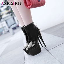 SARAIRIS New Plus Size 31-48 High Platform Booties Party Wedding Super High Heels Sexy Ankle Boots Women 2019 Black Shoes Woman original intention super fashion women ankle boots 2017 beautiful thin heels high quality black shoes woman plus us size 4 15