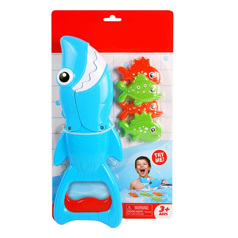 Shark Grabber Bath Toy for Boys Girls Catch Game with 4 Fishes Bathtub Fishing Water Interactive Toys