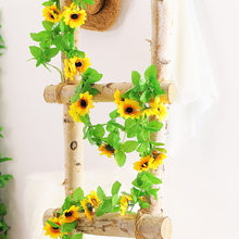 240cm Artificial sunflowers cane rattan Fake Flowers Vines Garland Green Plants Leaf Wall Hanging Home wedding Party Fence Decor