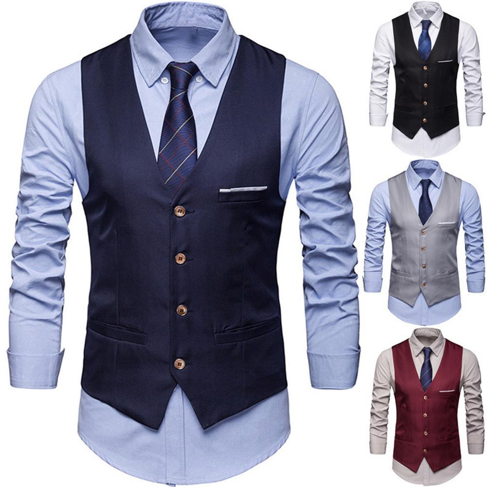 Plus Size Formal Men Solid Color Suit Vest Single Breasted Business Waistcoat Vest Business Casual Vest Men's Business Casual Sl