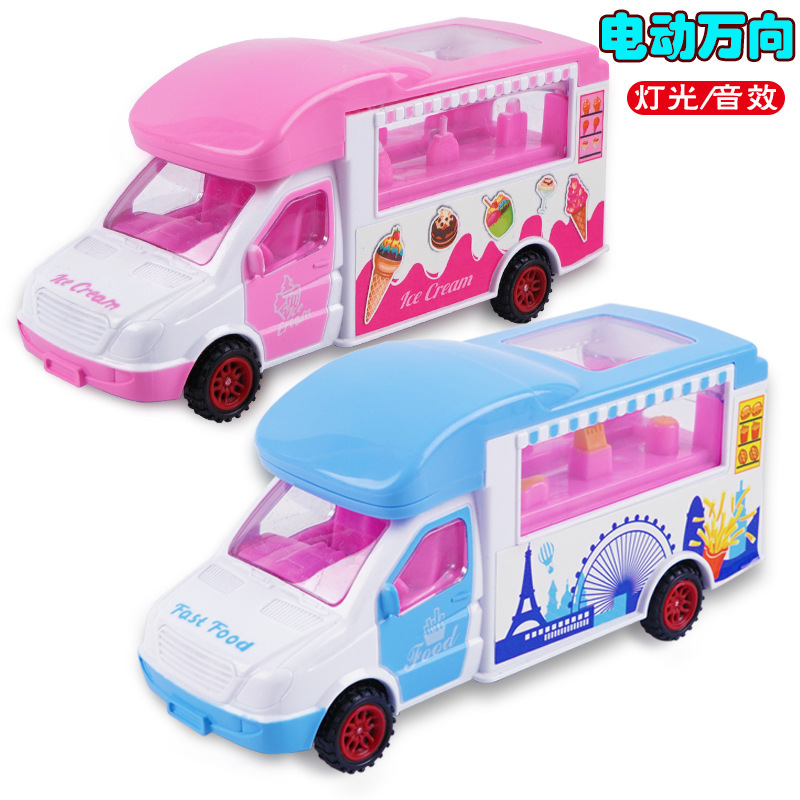 Children Electric Ice Cream Car Ice Cream Truck Universal Wheel CHILDREN'S Song Toy GIRL'S And BOY'S Shining Music Model Food Tr