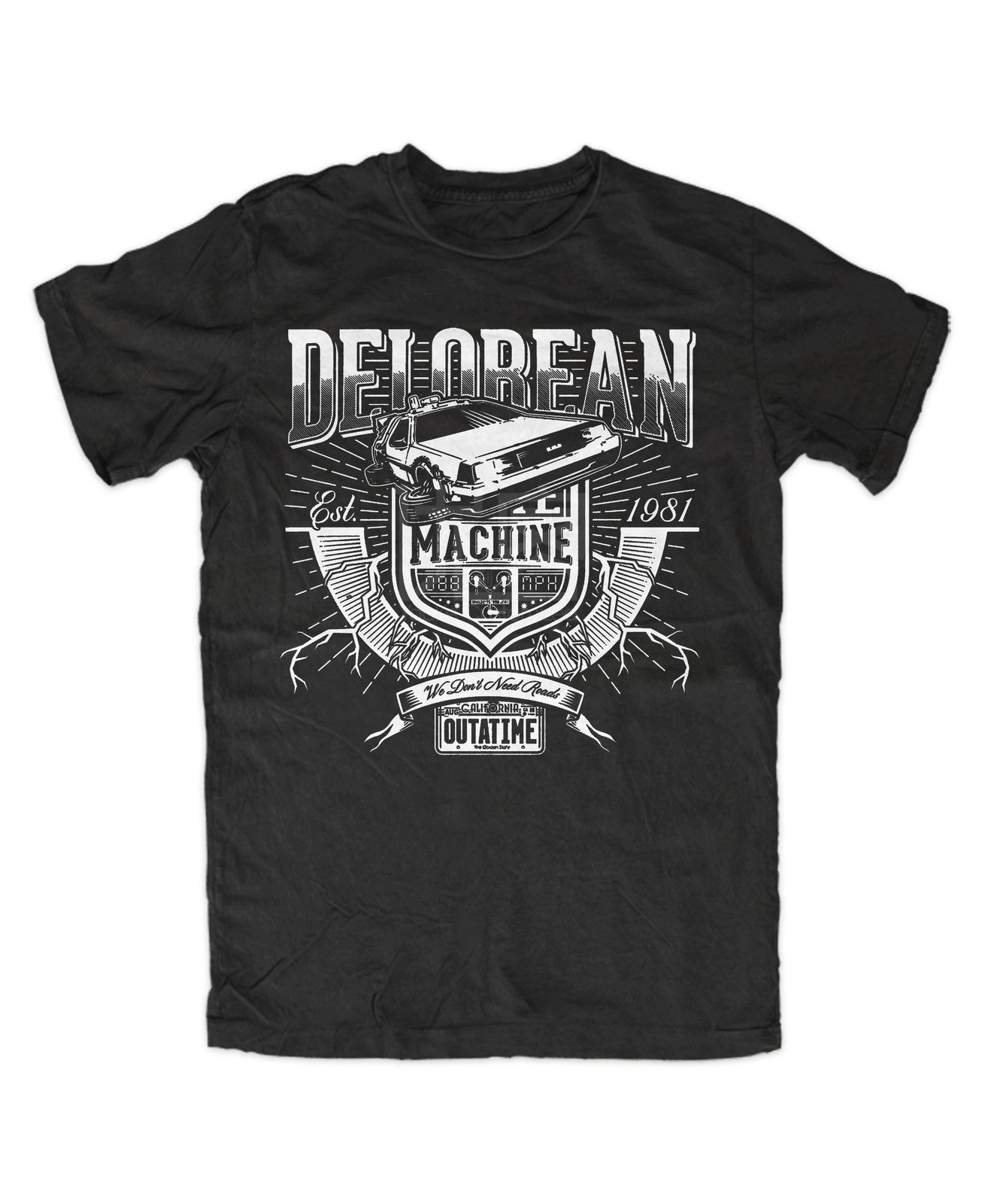 Delorean Premium T-Shirt Schwarz , Back To The Future , Timemachine 100% Cotton Men Women T Shirt Tees Custom Fashion 2018 S-3xl