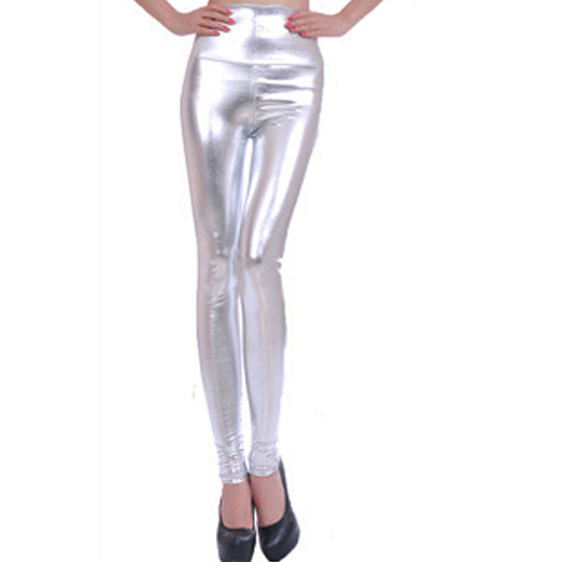 Women Shiny Silver Leggings High-Waisted Stretch Pencil Pants Lady Fashion Slim Sexy High Waist Leggings