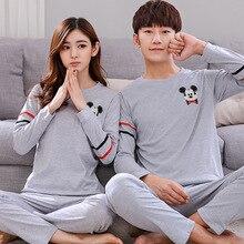 Пара пижамы установить лето с длинным рукавом 100% хлопок пижамы мужчин и женщин спортивный костюм любителей пижамы большой размер пижама