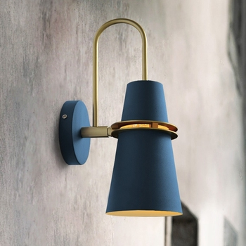 New Nordic wall lamp Bedside lamp Bedroom Modern living room Walkway Staircase Simple iron belt wall lamp LED lamp
