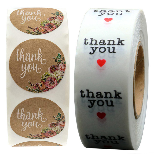 Mignon clair Floral merci autocollants fleur ronde joint étiquettes pour nom carte cadeau emballage pour mariage fête danniversaire douche