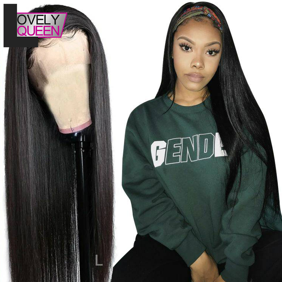 LOVELY QUEEN Straight Wigs Brazilian Remy Human Hair 13x4 Lace Frontal Wig For Black Women 150 Density Pre Plucked Hairline