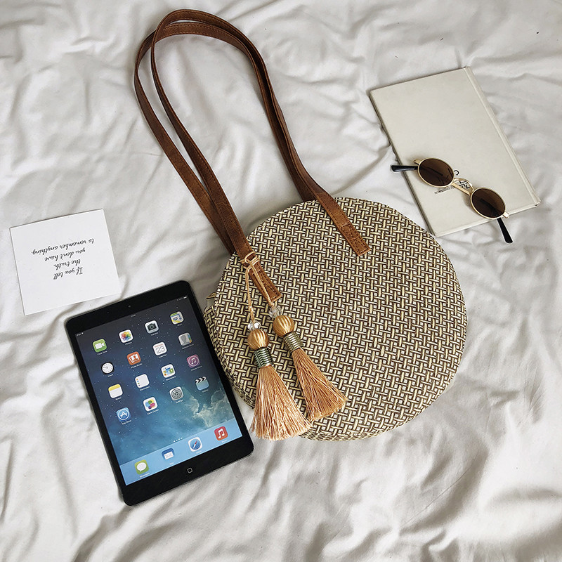 Summer Women Bags Ladies Large Handbag Handwoven Straw Bag Round Popularity Straw Women Shoulder Bag Beach Travel Bags Tote 2019 5