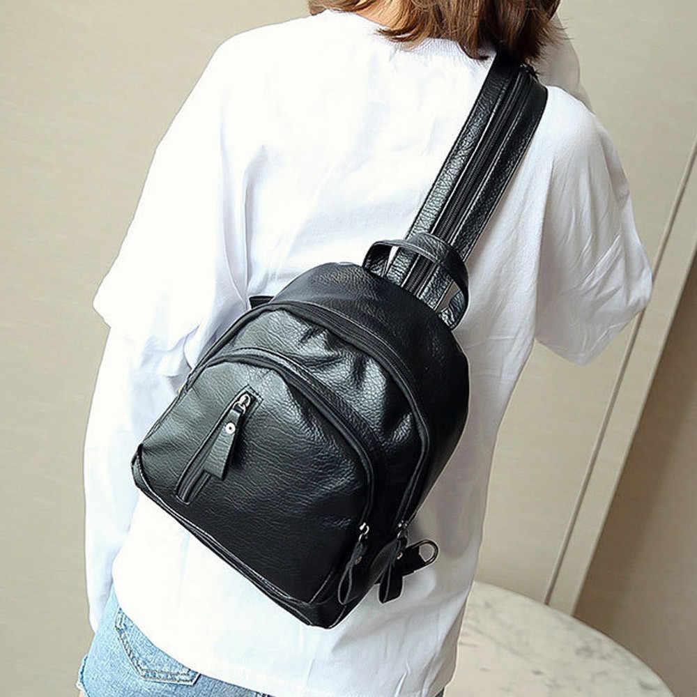 موضة Puleather المرأة على ظهره الإناث الأسود حقائب صغيرة أكياس بسحاب حقيبة ظهر الطالب الصلبة حقيبة الظهر للفتيات #10