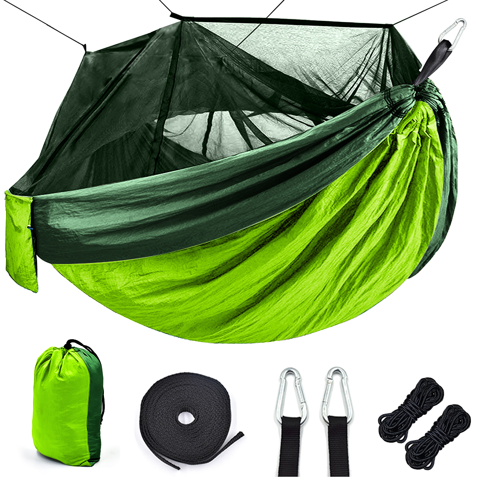 Camping Hammock with Mosquito Net Portable Outdoor High Strength Parachute Fabric camping hammock Hunting Hanging Sleeping Swing(China)