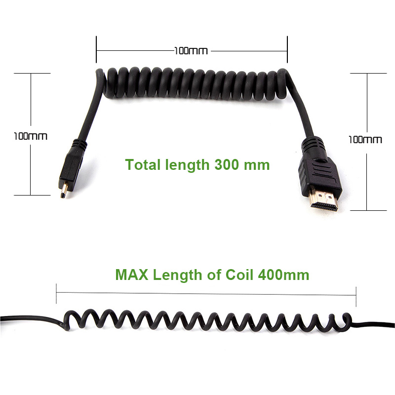 LanParte4K 60P 8 Bit Coiled Micro HDMI Cable to Standard HDMI for SONY A7R4 A7M3 A9  (HDMI2.0) 3