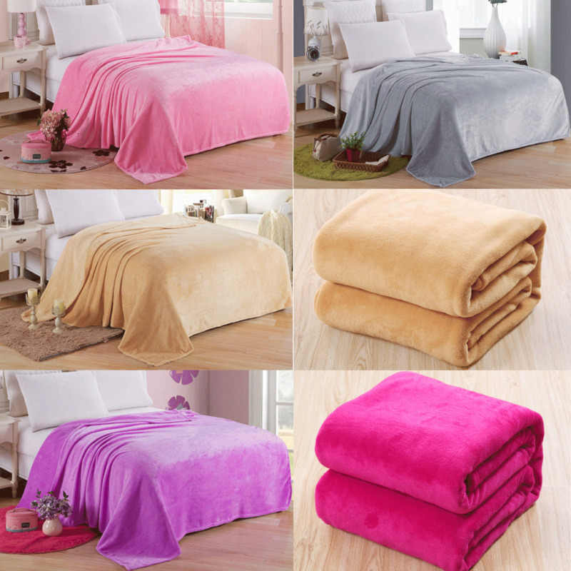 Soft Warm Solid Warm Micro Plush Flannel Blanket Fleece Throw Rug Sofa Bedding Winter Throw Home Textile