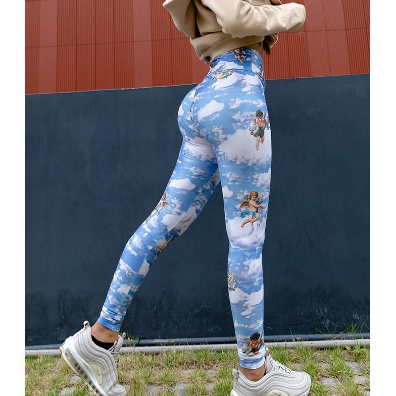 Women Leggings Cupid Angel Print High Waist Seamless Push Up Legging Sport Women Casual Long Pants Gym Fitness Elastic Trousers