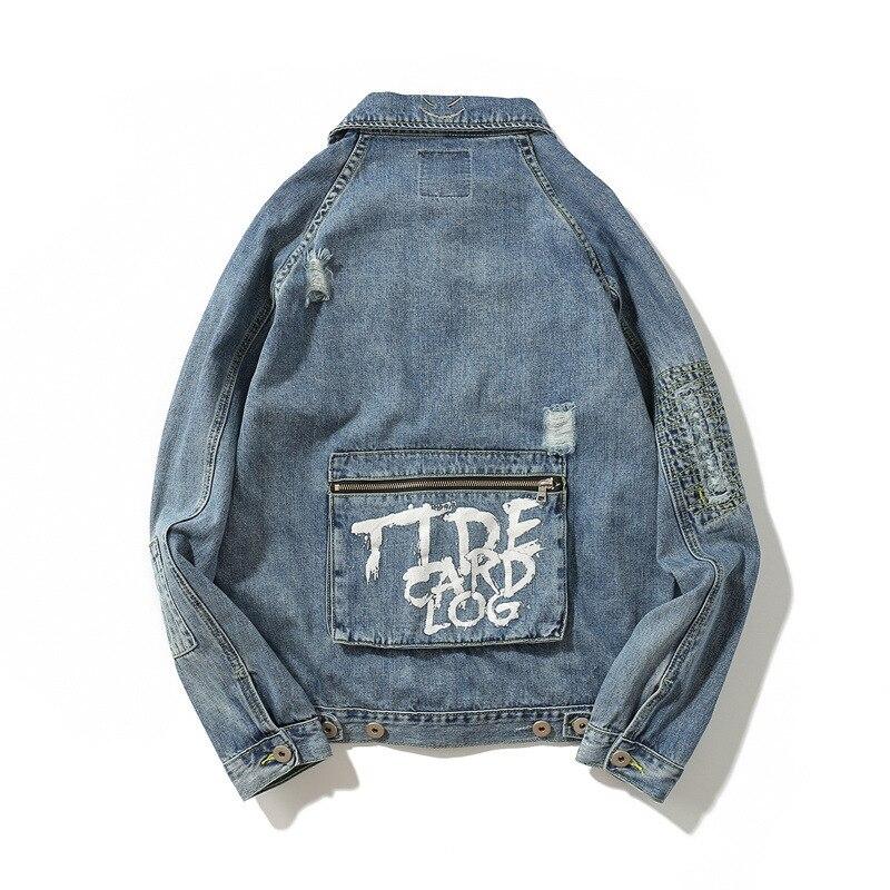 2020, модный бренд, мужские джинсовые комбинезоны, куртка, высокая уличная печать, рваные, карго, хлопковые пальто, синие, свободные, хип хоп, ко...