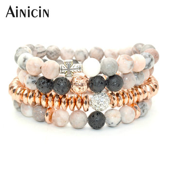 4pcs In set Fashion Women Multi-layer Bracelet Natural Smei-precious Stone Black Lava Rose Gold Faceted Hematite Bangles 10sets