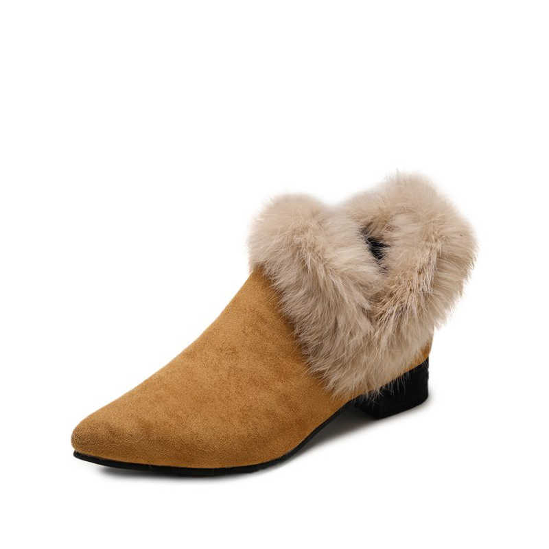 Kalın yüksek topuklu katı akın sivri burun kürk peluş pamuklu ayakkabılar kadın tasarımcı kadın moda üzerinde kayma pompaları derin ağız ayakkabı